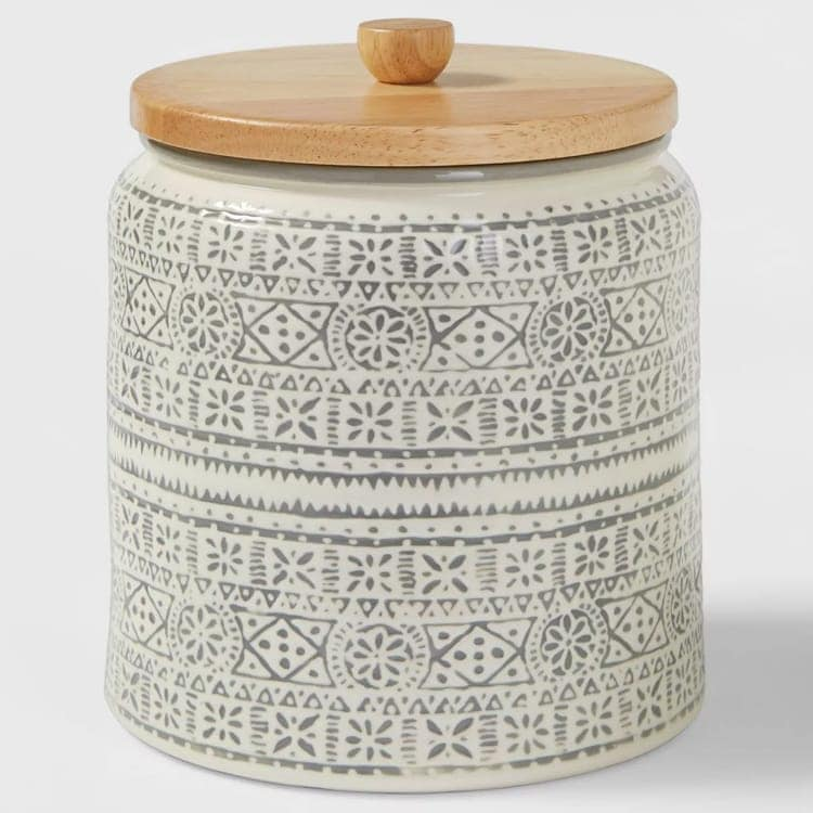 This printed food storage canister is such a fun kitchen decor find! #ABlissfulNest