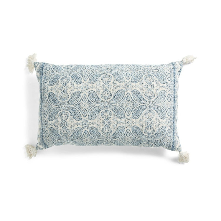 This printed tassel throw pillow is under $20 and a perfect addition to your spring home decor! #ABlissfulNest