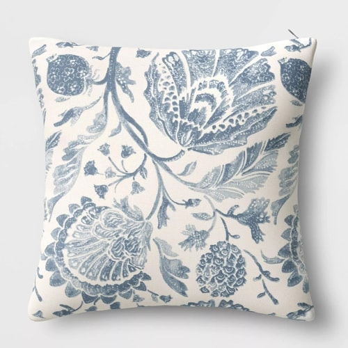 This blue floral throw pillow is so beautiful! Perfect for your spring decor! #ABlissfulNest