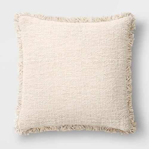 This textured fringe throw pillow is such a perfect, neutral pillow that you can use year round! #ABlissfulNest