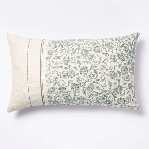 This blue and white floral and striped throw pillow is soo pretty! #ABlissfulNest