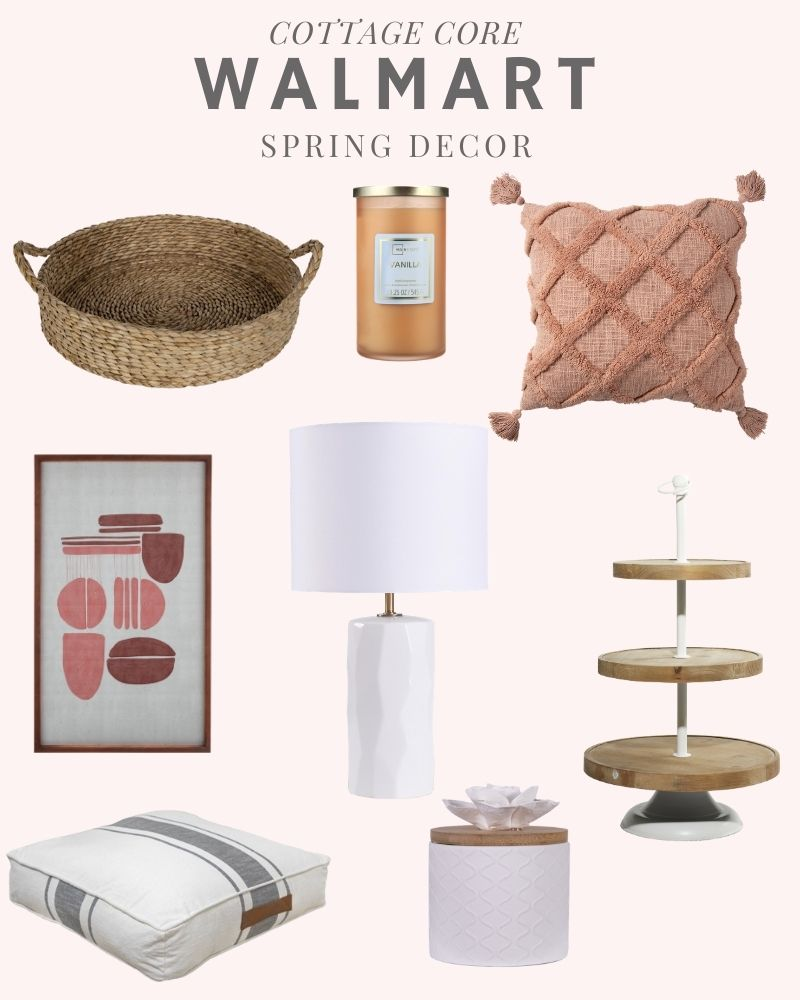 Sharing a collection of items from the popular Walmart Cottage Core Trend collection: textured pillows, sea grass tray, candles, white modern table lamp, farmhouse tiered tray, floor pillows. #ABlissfulNest #homedecor #springfinds