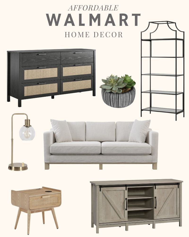 Sharing a collection of beautiful furniture finds from Walmart: modern side chair, black bookcase, tufted ottoman, chunky knit blanket, modern coffee table, grey x-base side table. #ABlissfulNest #homedecor
