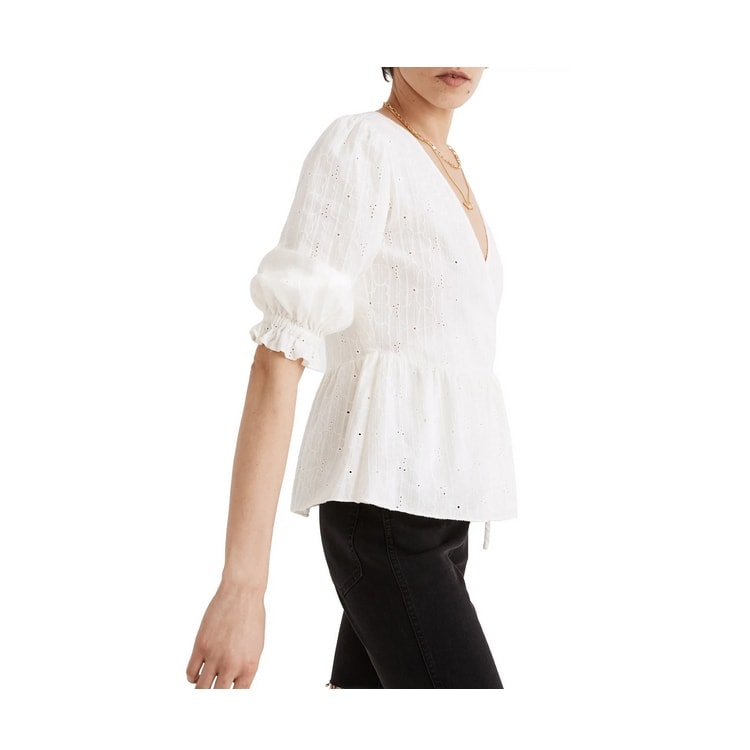 This white eyelet peplum top has the prettiest embroidery to it - perfect for spring! #ABlissfulNest