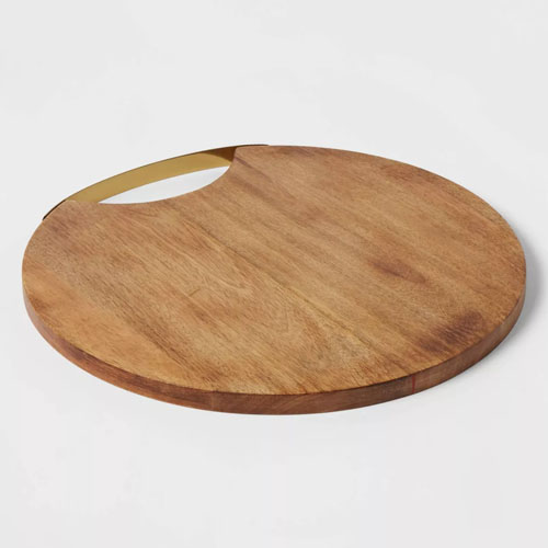 This round wooden cheese board is perfect for your next charcuterie board! #ABlissfulNest