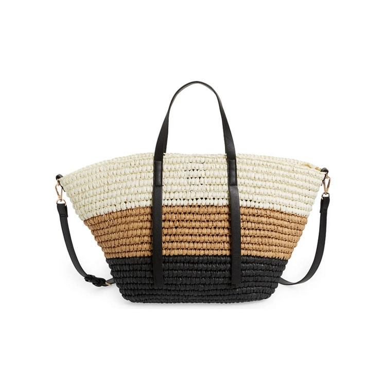 This colorblock straw tote is perfect for summer and so affordable! #ABlissfulNest