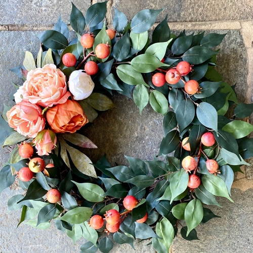 This peony and berry wreath is gorgeous for your front door this summer! #ABlissfulNest