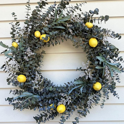 This lemon and eucalyptus wreath is a must for your front door this summer! #ABlissfulNest