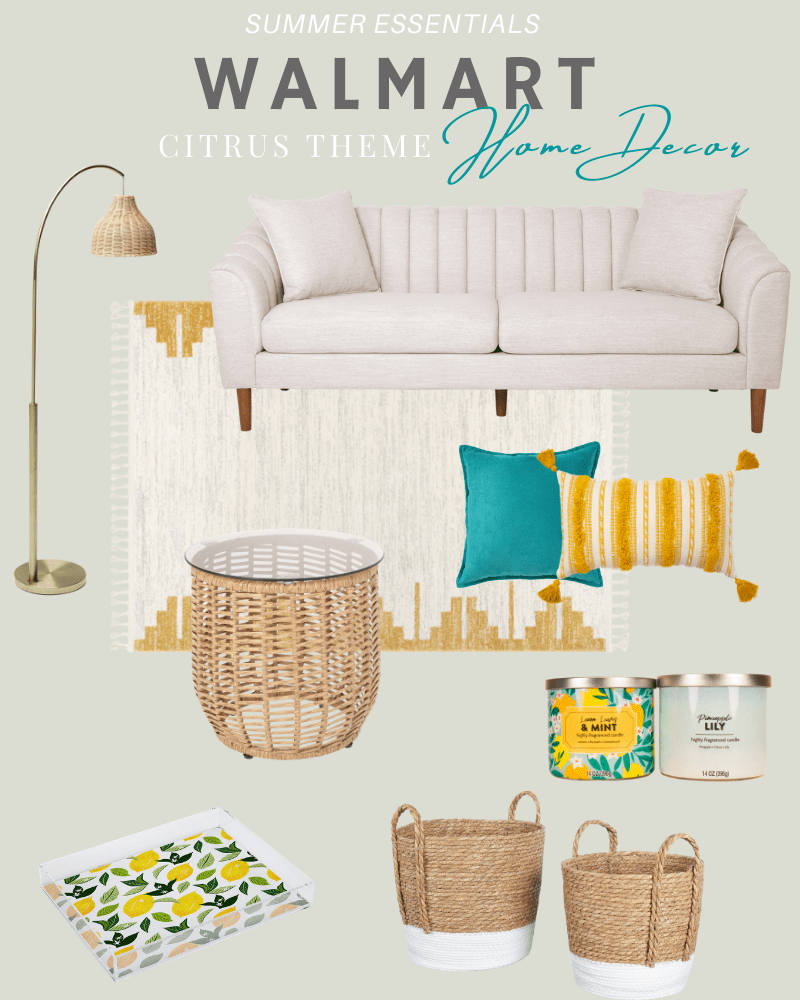 Fresh summer accents for your home with citrus themed decor pieces from Walmart. #ABlissfulNest #ad #WalmartHome