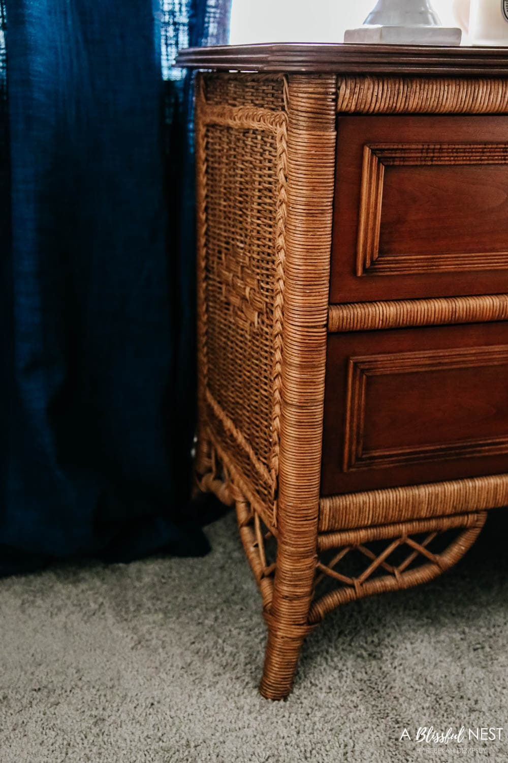 Rattan detail on this beautiful antique nightstand from Black Rock Galleries online estate sale website. #ABlissfulNest #ad #bedroomdecor #bedroomideas