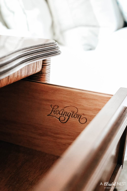 Stunning Lexington furniture piece from Black Rock Galleries. #ABlissfulNest #ad #bedroomdecor #bedroomideas