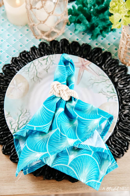Bright pops of turquoise and coastal table decor. #ABlissfulNest #HobbyLobbyFinds #ad