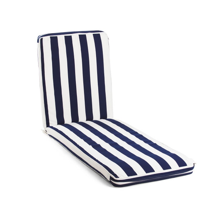 These navy striped chaises are under $50 and so fun for summer! #ABlissfulNest