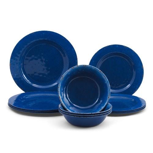 ¡Este juego de vajilla de melamina azul es imprescindible por menos de $ 30 para el entretenimiento de verano!  #ABlissfulNest