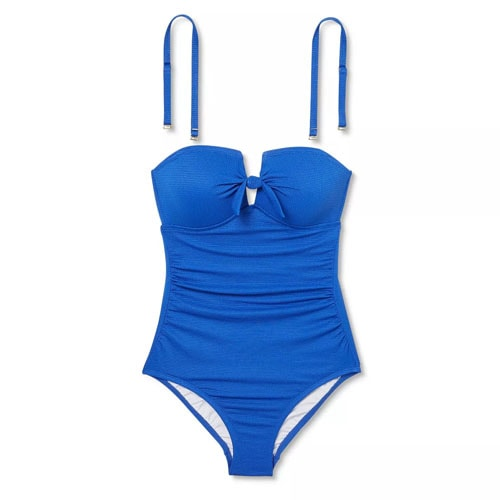 This bright blue bandeau swimsuit is under $40 and a must have for summer! #ABlissfulNest
