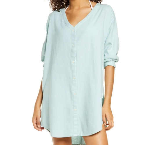 This linen cover-up shirt is a must have for your summer getaways! #ABlissfulNest