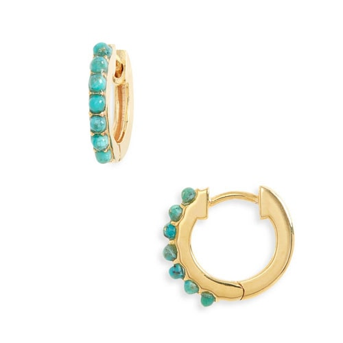 These turquoise and gold huggie hoop earrings are a must have for summer! #ABlissfulNest