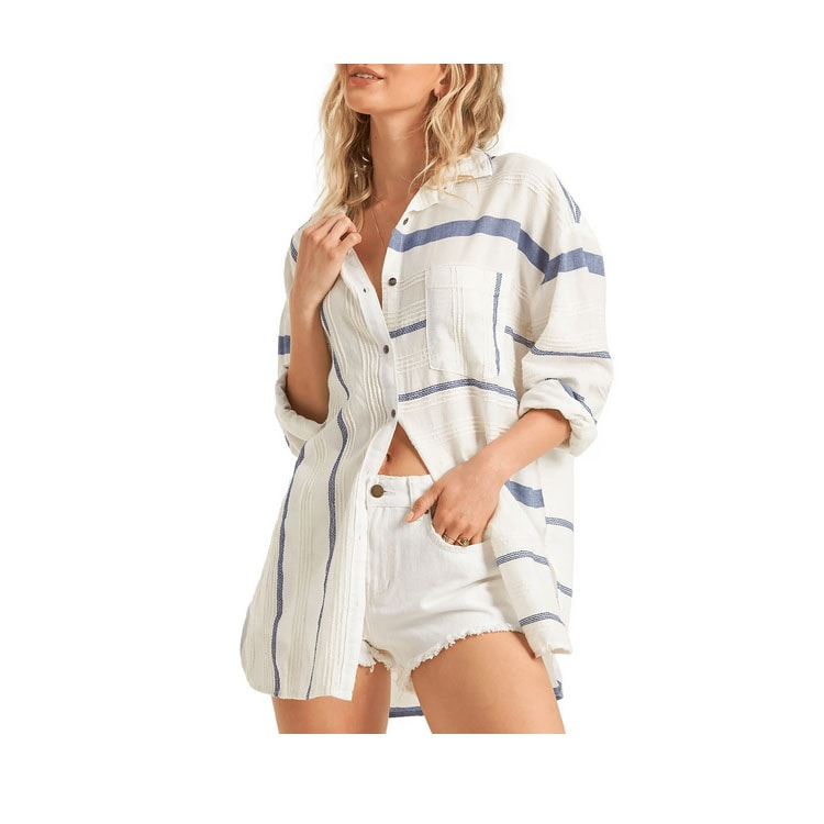 This oversized striped button-up shirt would be a perfect swim cover-up this summer! #ABlissfulNest