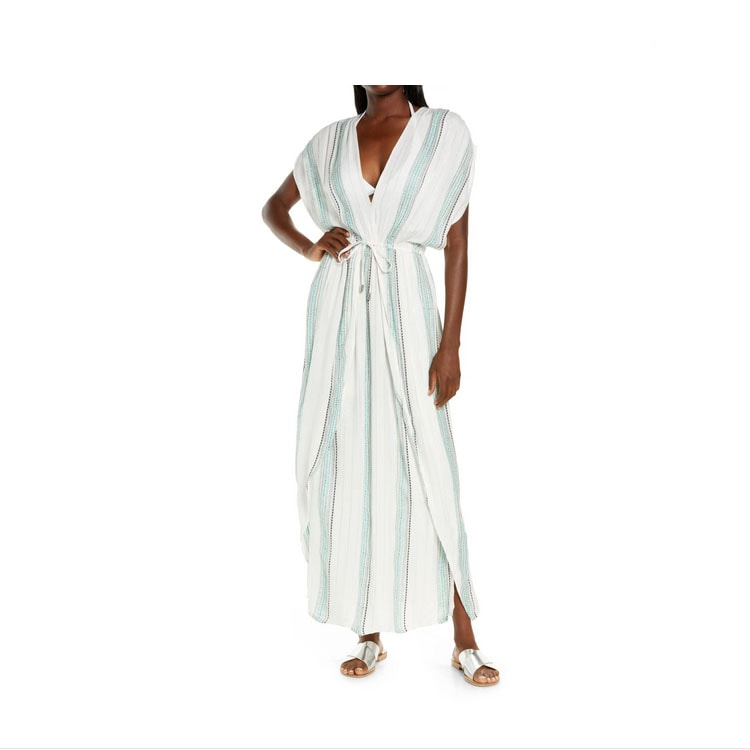 This striped maxi caftan coverup is a must have for summer! #ABlissfulNest
