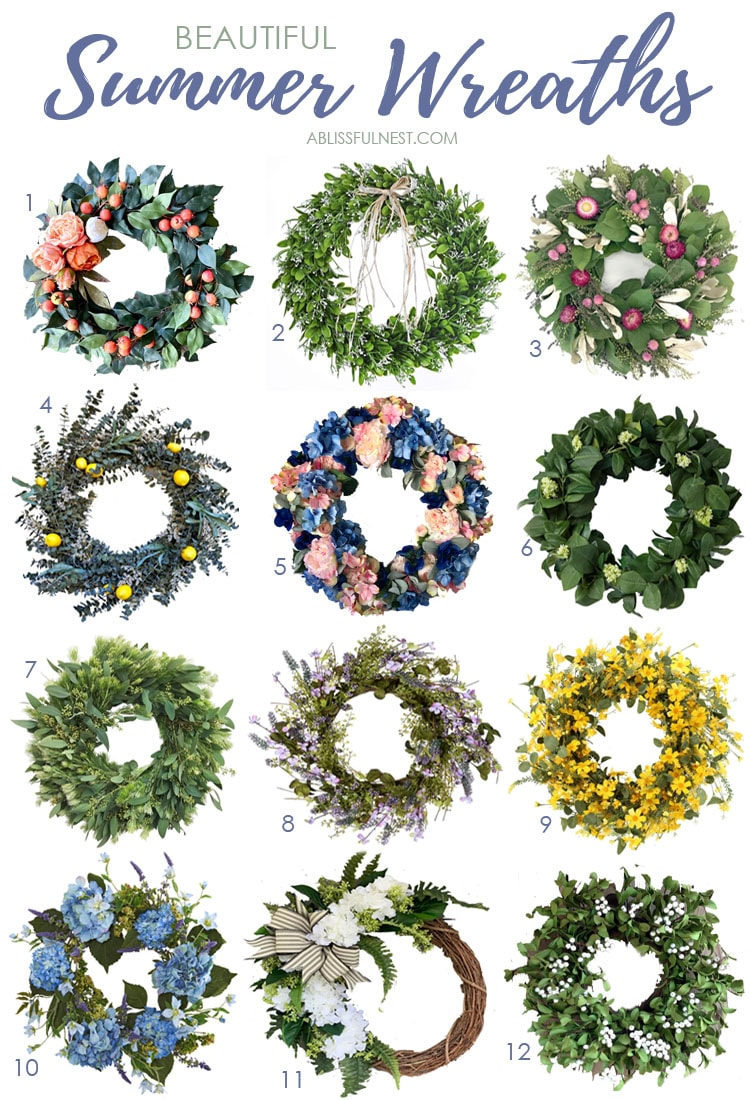 An assortment of gorgeous summer wreaths to freshen up your front porch for the season. #ABlissfulNest #summerporch #summerdecor