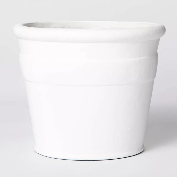 This white composite planter is so simple and pretty for your favorite plants this season! #ABlissfulNest