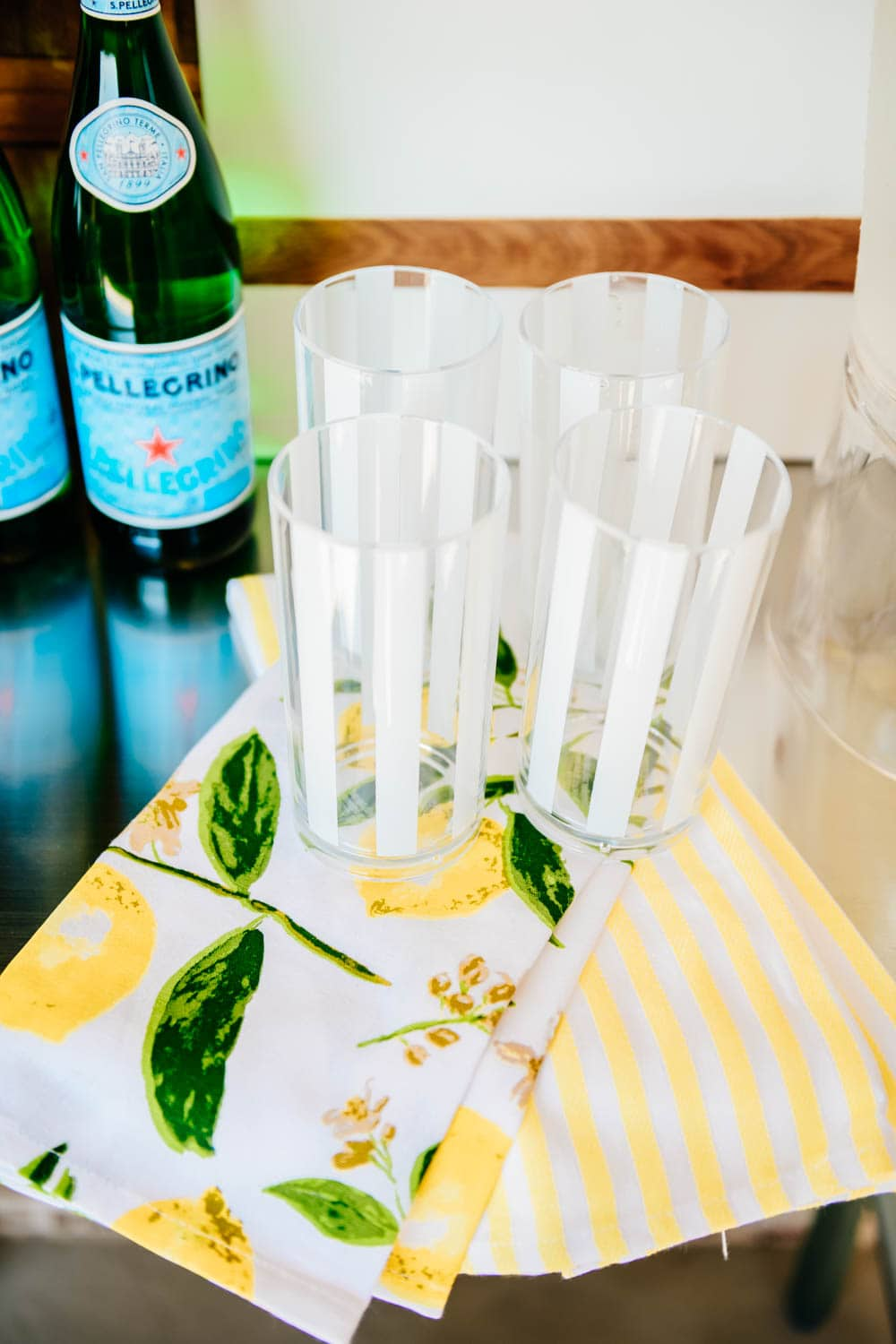 Love the simple white stripes on these melamine cups to use on the patio this summer season! #ABlissfulNest #WalmartHome #ad