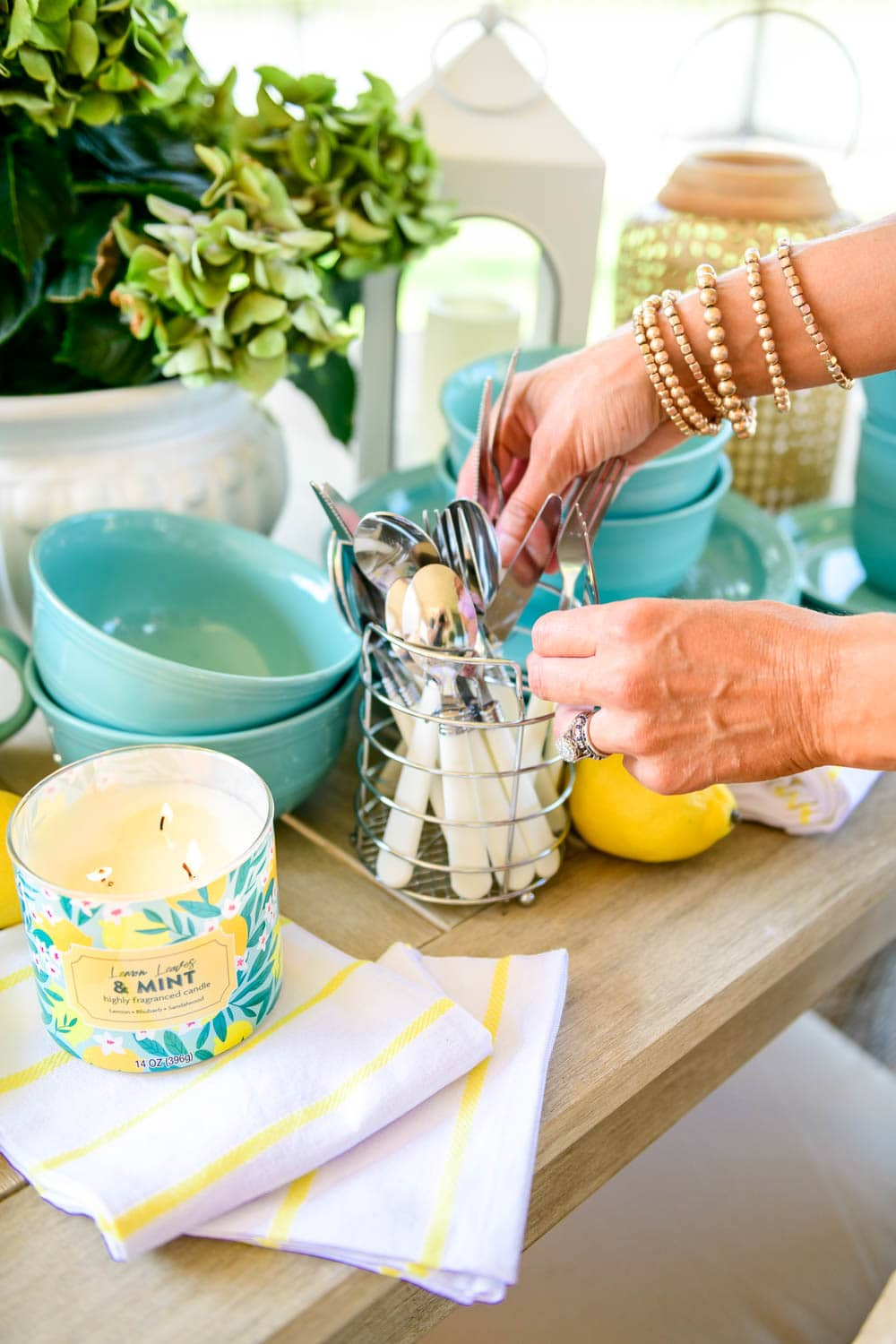 Love the turquoise color of this dish set mixed with lemon accents for summer. #ABlissfulNest #WalmartHome #ad