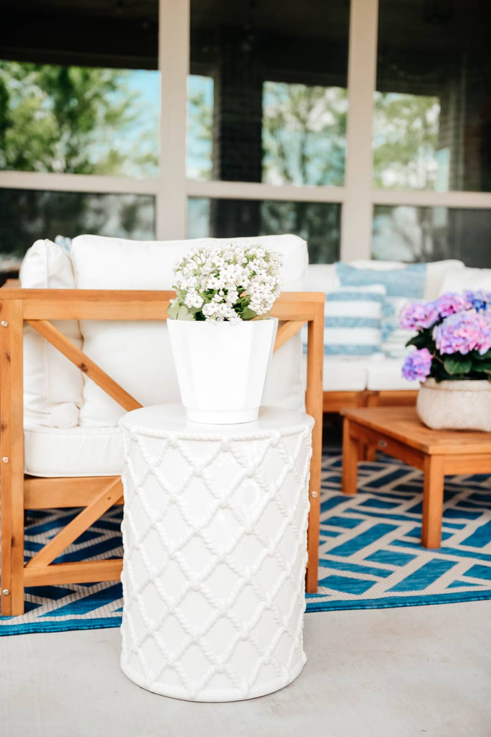 Summer patio sectional, outdoor table, outdoor television, outdoor seating ideas. #ABlissfulNest #summerpatio #patiodecor
