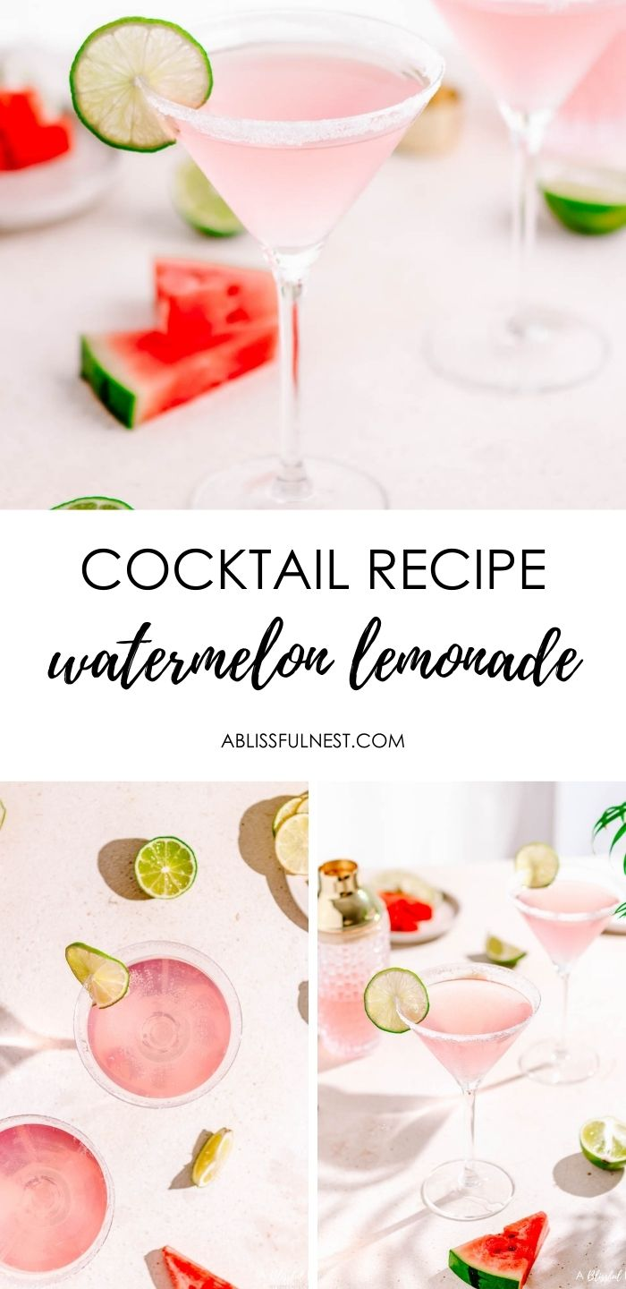 This watermelon lemonade martini is delicious for the summer or when having a small party. #ABlissfulNest #drinkrecipe #watermelon