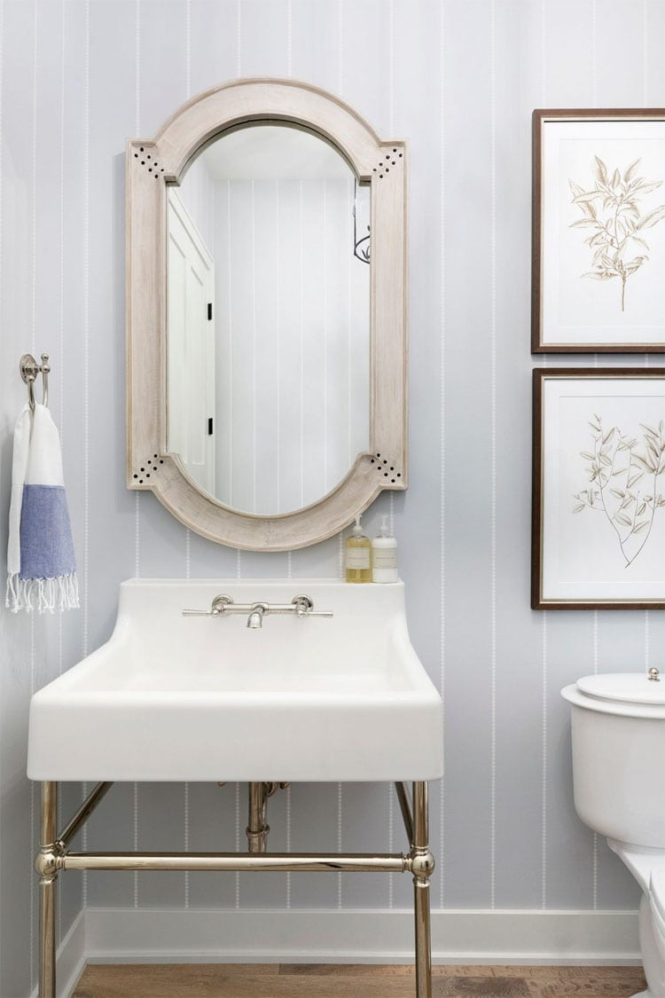 This gorgeous guest bathroom designed by Bria Hammel Designs is such a stunner!