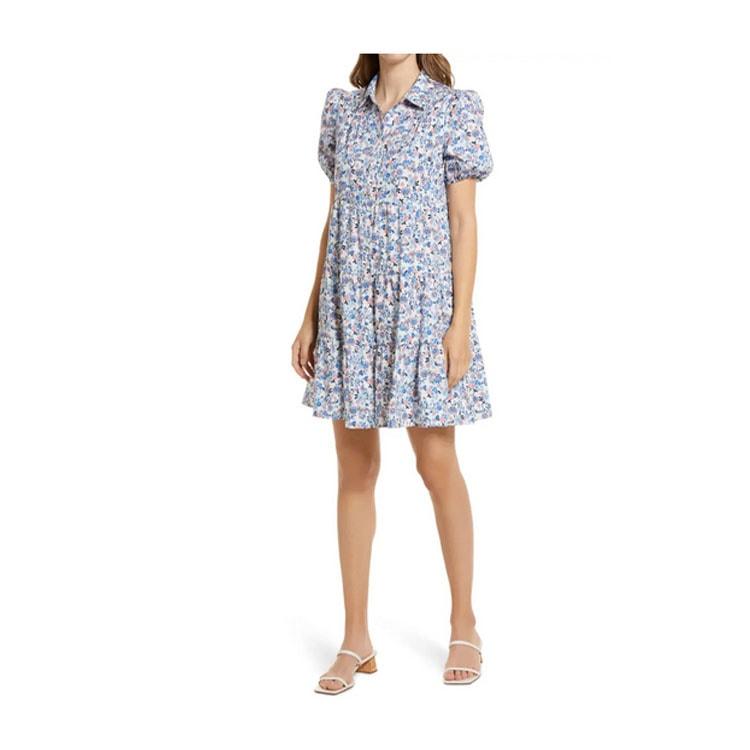 ¡Este vestido camisero floral con mangas abullonadas es un divertido hallazgo floral para el verano!  #ABlissfulNest