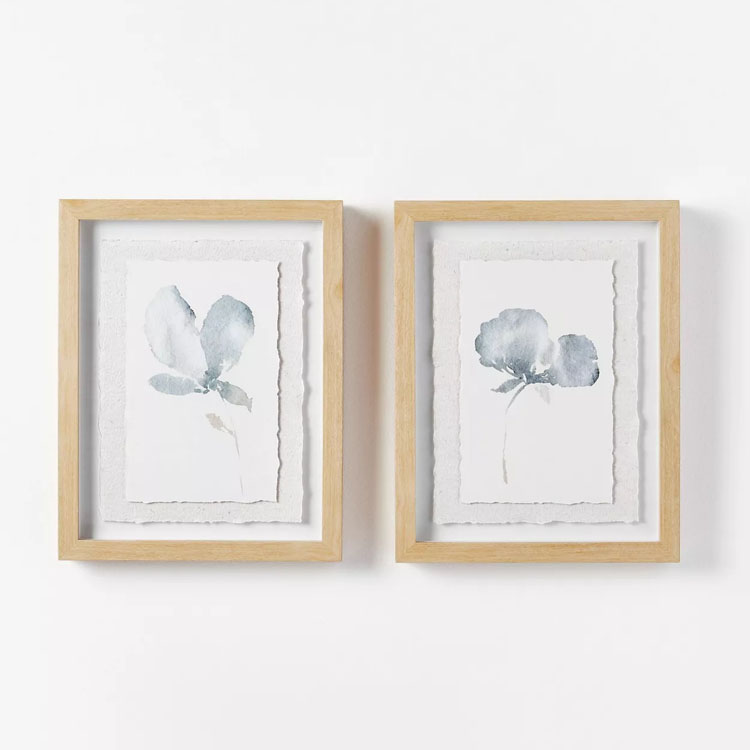 These gorgeous watercolor framed prints would be so beautiful hung in a bathroom! #ABlissfulNest