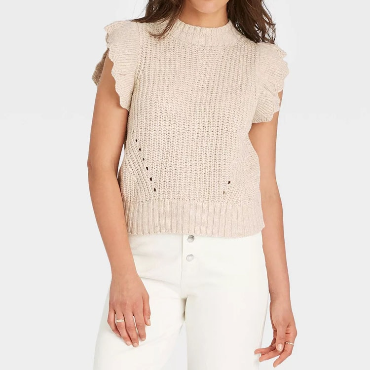 This ruffle sleeve sweater tank is $20 and so cute! #ABlissfulNest