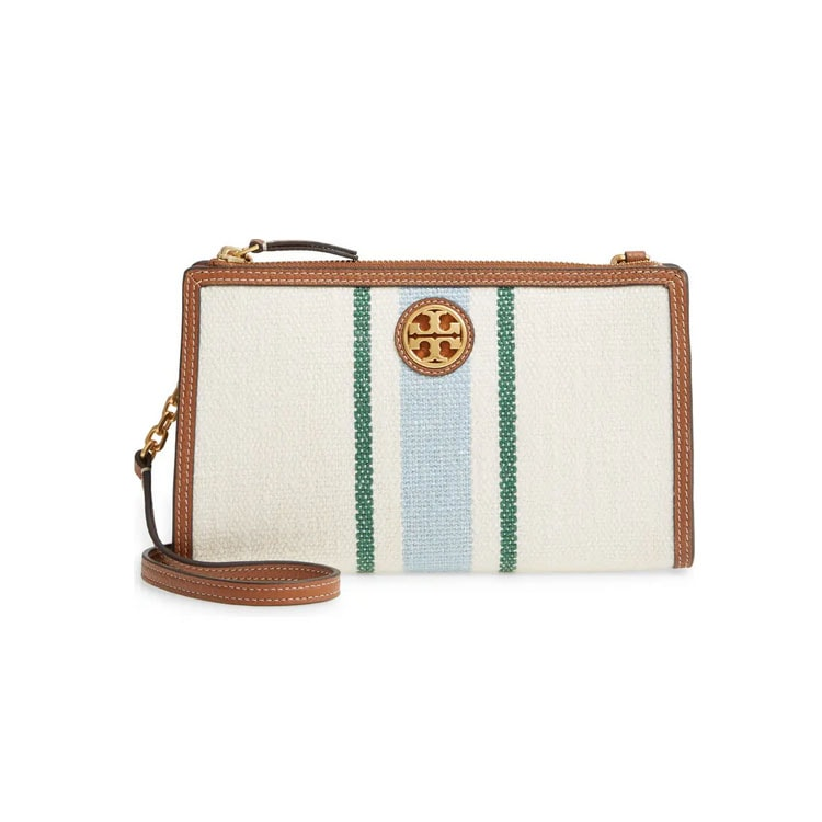 This striped Tory Burch crossbody bag is on sale and so cute! #ABlissfulNest