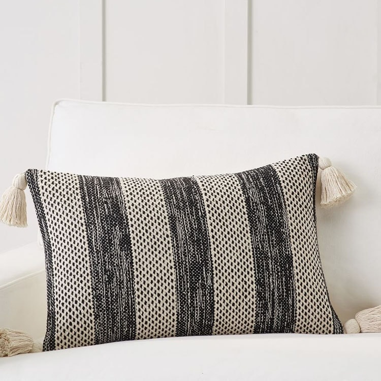 This striped lumbar pillow cover is so pretty! #ABlissfulNest