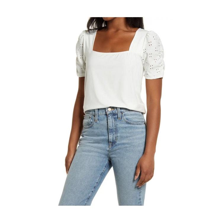 ¡Esta camiseta blanca de manga con ojales es un hallazgo tan divertido para el verano!  #ABlissfulNest