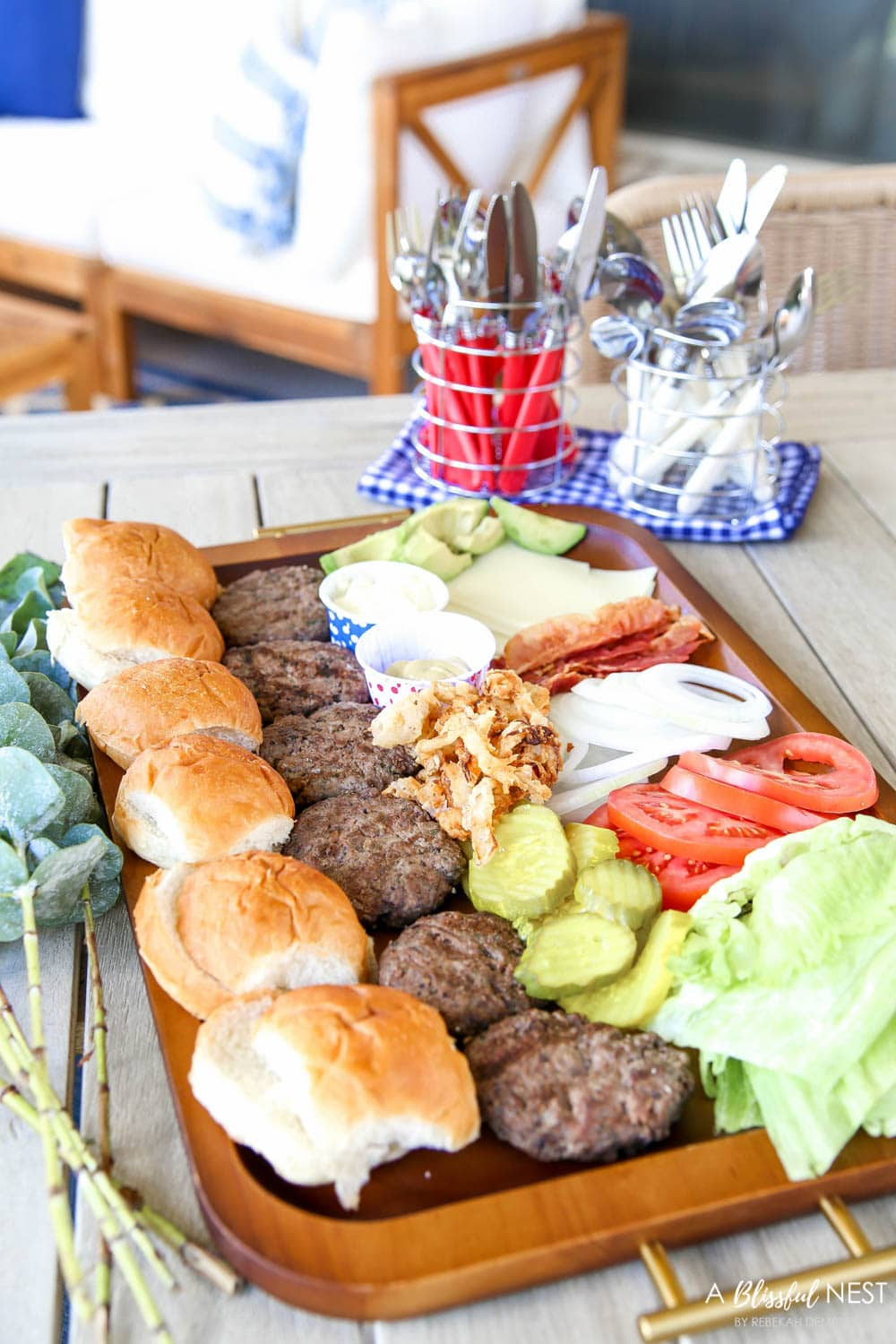 Make this epic summer hamburger charcuterie board with all these must-have ingredients. #ABlissfulNest #charcuterieboard #summerrecipe #summerfood