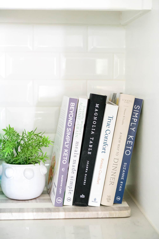 Cookbooks, kitchen style, kitchen ideas, kitchen decor, white kitchen. #ABlissfulNest #whitekitchen #kitchendesign