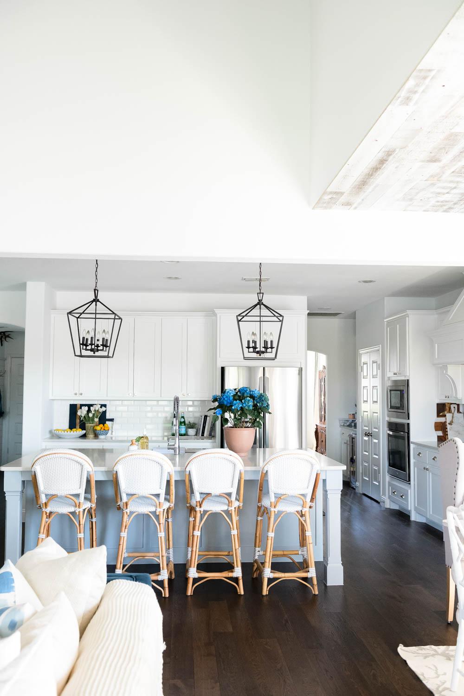White kitchen details, Serena and Lily barstools, black lanterns, coastal kitchen, summer kitchen. #ABlissfulNest #whitekitchen #kitchenideas