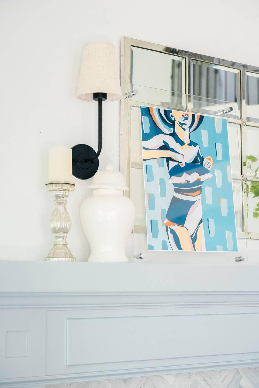 Summer fresh hues in this summer decor for a seasonal update. Fresh flowers, blue & white, green decor. #ABlissfulNest #summerdecor #summerhometour #livingroom