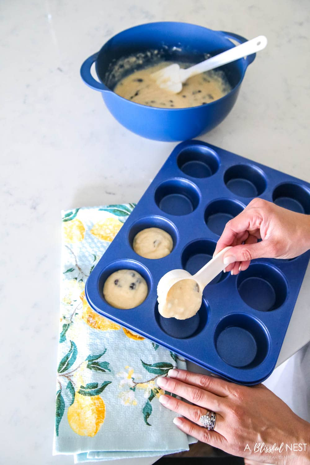 Love these affordable kitchen items for baking and cooking in shades of blue with citrus accents from Walmart. #ABlissfulNest #WalmartHome #sponsored #kitchen #baking