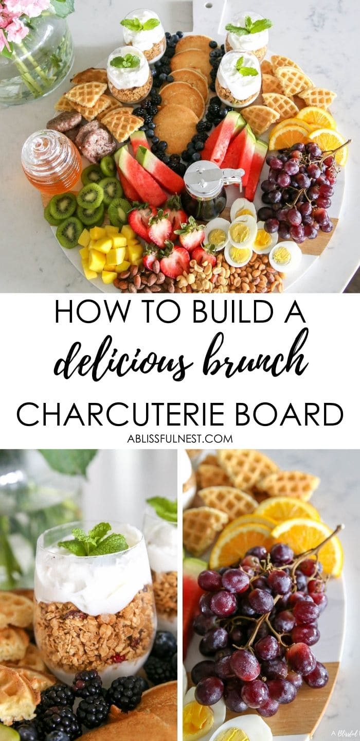 Make a brunch charcuterie board with all these breakfast items for your family on the weekends or for a girls brunch with friends. #ABlissfulNest #charcuterieboard #brunchrecipes #breakfastrecipes