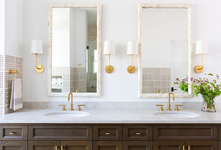 This stunning bathroom designed by Andrea Leigh Interiors is such a gorgeous space!