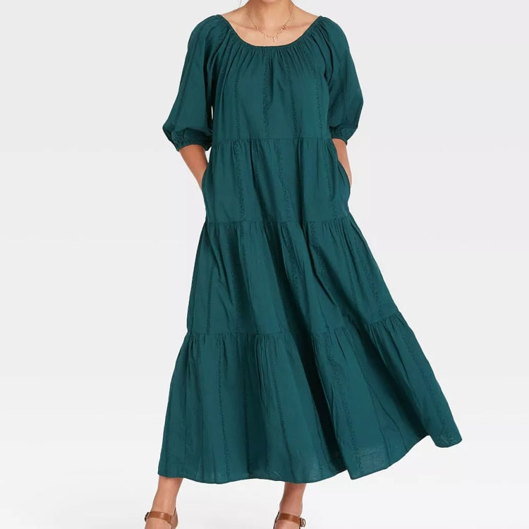 This puff sleeve tiered midi dress is so cute and the prettiest color! #ABlissfulNest