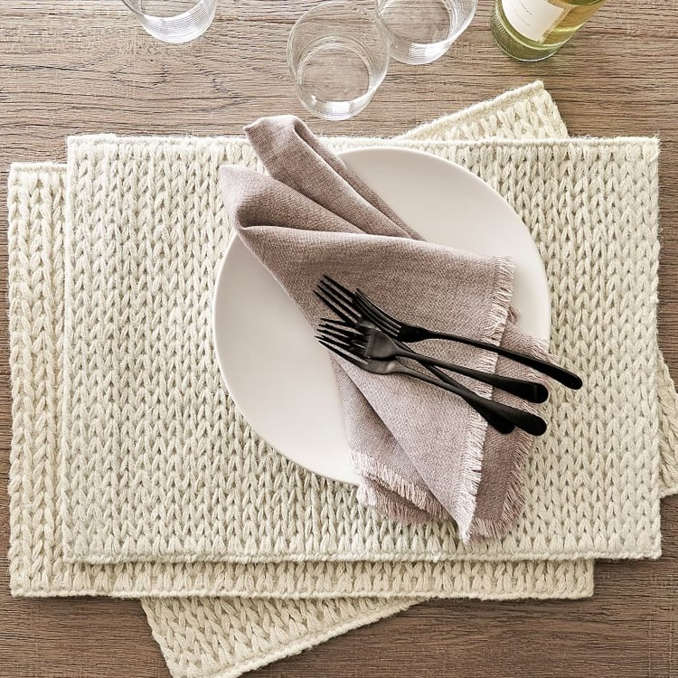 These jute woven placemats are a must have for your next get-together! #ABlissfulNest