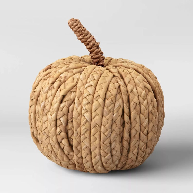 This woven pumpkin is only $10 and will sell out quickly! Perfect piece of fall decor! #ABlissfulNest
