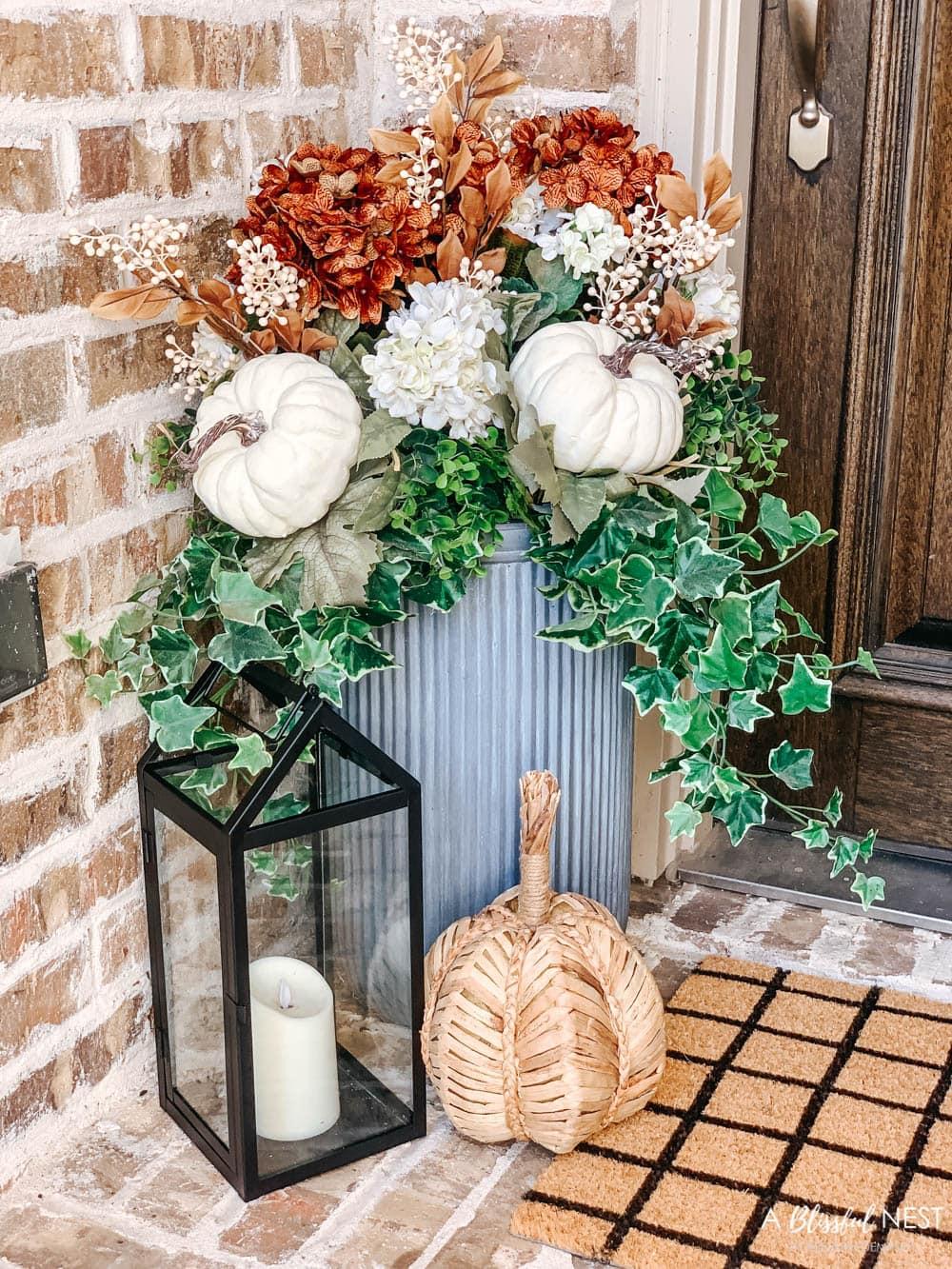 Small Porch Fall Decorating Ideas with Hobby Lobby