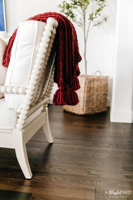Throw cozy blankets over the backs of chairs. #ABlissfulNest #falldecor #fallideas