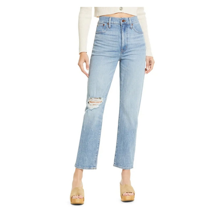 These distressed straight leg jeans are so cute and fit so well! #ABlissfulNest