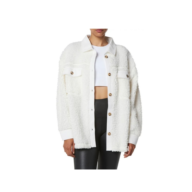 This white teddy fleece shirt jacket is a must have for fall! #ABlissfulNest